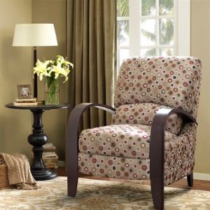Great Retro Fabric Recliner Wooden High Leg