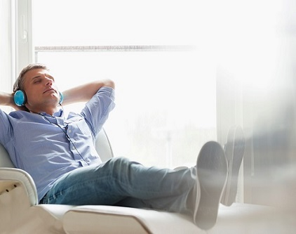 Man relaxing on a sleeper recliner